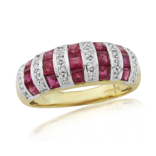 Yellow Gold Ruby And Diamond Fancy Eternity Ring